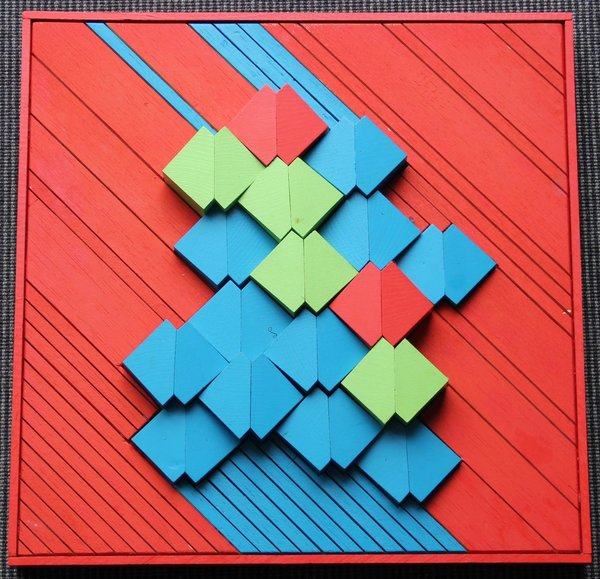 Geometric Arrangement, red in blue 36 x 36 cm