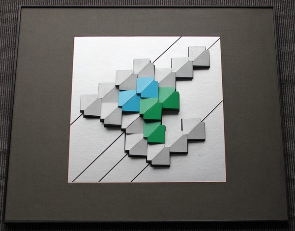Geometric Arrangement, silver green blue 60,5 x 50,5 cm
