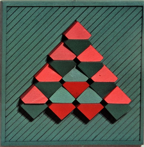 Geometric Arrangement, red,green 36 x 36 cm